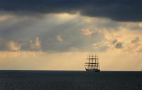 STS Sedov sailing ship on Black Sea at sunset, Sevastopol, Crimea, Ukraine