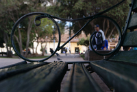 Close up of metal side of bench, Cusco, Peru
