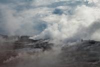 Landscape with steam and clouds, Reykjanes, Gunnuhver, Iceland