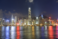 Victoria Harbor at night, Hong Kong, China