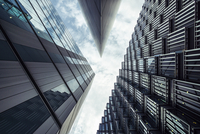Low angle view of modern skyscrapers, London, England, UK