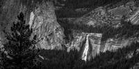 Nevada Falls waterfall in Yosemite National Park seen from Glacier Point, California, USA