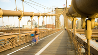 Clear sky over bridge, Brooklyn Bridge, New York, USA