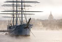 Old ship in foggy harbor, Stockholm, Sweden