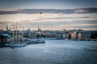 Cloudy sunset over Skeppsbron harbor, Stockholm, Sweden