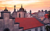 Moody sky over red roof, Porto, Portugal