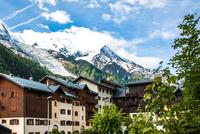 Mont Blanc and buildings, Chamonix, Auvergne-Rhone-Alpes, France