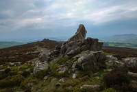 Stiperstones rocks on mountain peak, Shropshire, England, UK