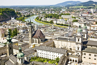 Aerial view of old town of Salzburg seen from Hohensalzburg Castle, Salzburg, Austria