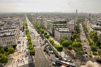 Avenue des Champs-Elysees from elevated view, Paris, Ile-de-France, France