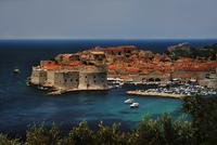 Old town cityscape by sea, Dubrovnik, Croatia