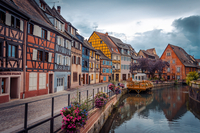 Old houses near water channel, Colmar, France