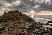 Giants Causeway at sunset, Northern Ireland