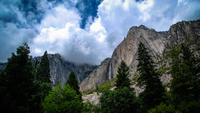 Clouds over Yosemite Falls, California, USA
