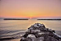 Seascape at sunset, Alba, Piedmont, Italy