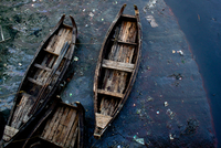 View from above of old boats and sewage, Chittagong, Bangladesh