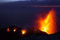 Eruption of Stromboli volcano, Italy