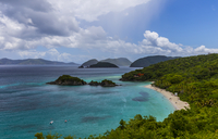 Little islands by seashore covered with tropical forest, Saint John, United States Virgin Islands