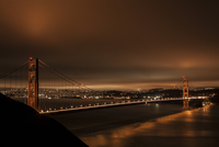 Golden Gate Bridge by night, Golden Gate Bridge, San Francisco, California, USA