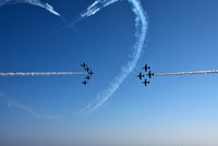 High angle view of planes on clear blue sky, Italy