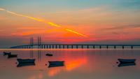 Oresund Bridge at sunset, Malmo, Sweden