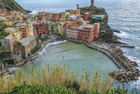 Elevated view of coastal city, Vernazza, Liguria, Italy