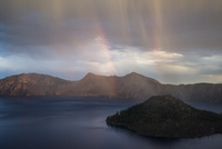 Double rainbow over Crater Lake, Crater Lake National Park, Oregon, USA