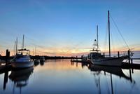 Harbor at sunset, Fort McAllister Marina, Richmond Hill, Georgia, USA