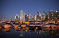 Downtown district at night, Vancouver, Canada
