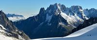 Snowcapped rocky mountains under clear sky, Aiguille du Dru, Argentiere, Mont Blanc, Chamonix, France