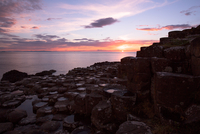 Landscape with Giant's causeway at sunset, County Antrim, Northern Ireland, UK