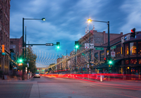 City street at night, Denver, Colorado, USA