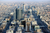 Elevated view of modern city center, Riyadh, Saudi Arabia