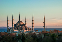 Sultan Ahmed Mosque at sunset, Istanbul, Turkey
