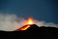 Etna volcano eruption at dusk, Sicily, Italy