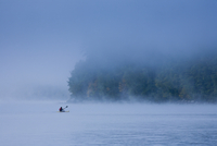 Early morning fog on Lake Sebago in Maine