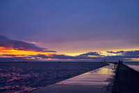 Sunset walk on the pier