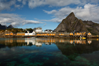 Scandinavian fishing houses on seashore