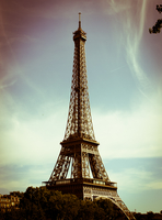 Eiffel Tower against cloudy sky, Paris, France