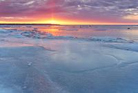 Frozen beach at sunset