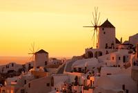 White city Thira during sunset, Greece