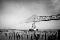 Suspension bridge near beach in grayscale