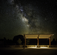 Starry night over bus stop