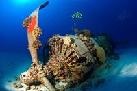 Submarine wreck underwater