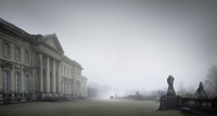 Castle and garden in fog