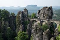 Ancient stone bridge in mountains