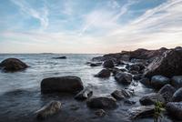 Rocky coastline at sunset