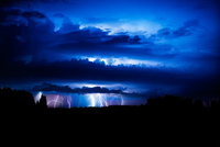 Dramatic sky with thunderstorm at night