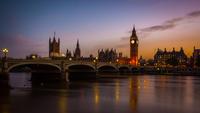Big Ben and bridge over Thames river at sunset, London, UK