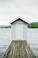 White wooden cabin